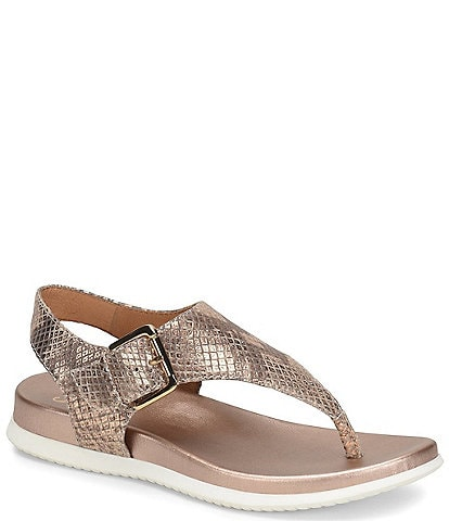 Sofft Farlyn Metallic Leather T-Strap Sandals