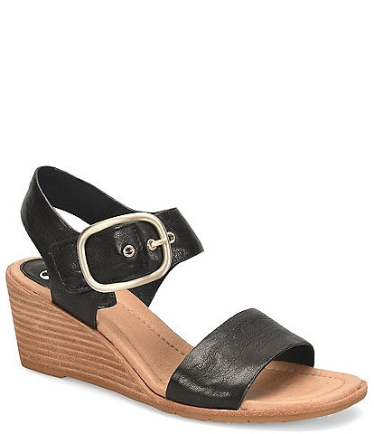 Sofft Greyston Leather Adjustable Buckle Wedge Sandals