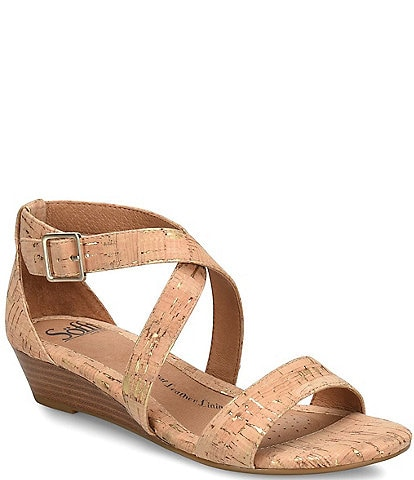 Sofft Innis Cork Criss Cross Wedge Sandal