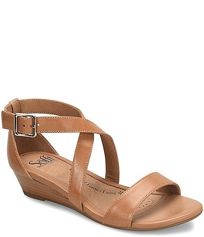 Sofft Innis Leather Stacked Wedge Sandals