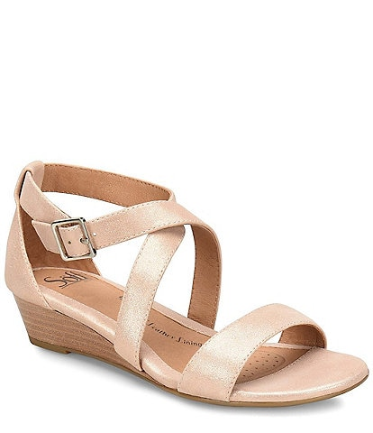 Sofft Innis Metallic Leather Criss Cross Wedge Sandal