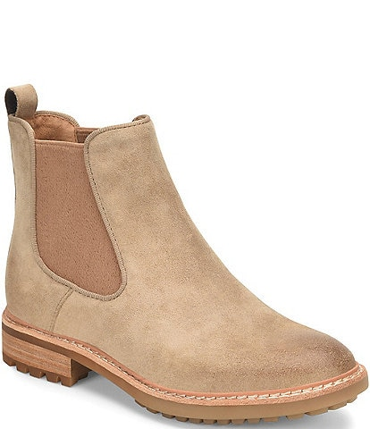 Sofft Leah Waterproof Suede Chelsea Double Gore Booties