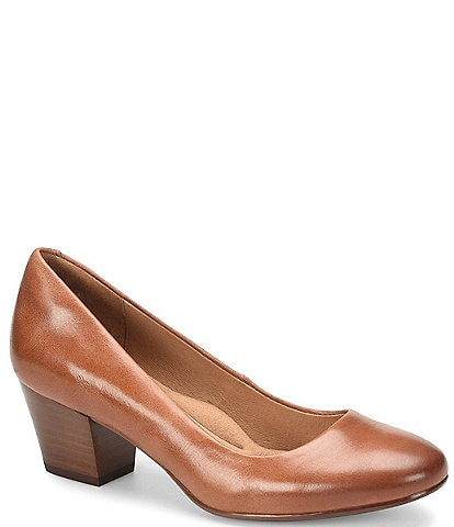 Sofft Lindon Leather Block Heel Pumps
