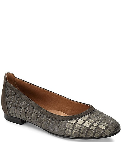 Sofft Maretto Croco Textured Leather Slip On Flats
