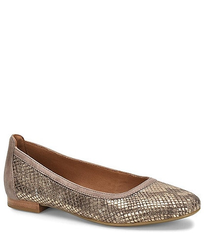 Sofft Maretto Metallic Snake Print Leather Slip On Flats