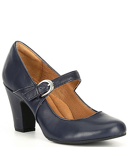 Sofft Miranda Leather Mary Jane Buckle Strap Pumps
