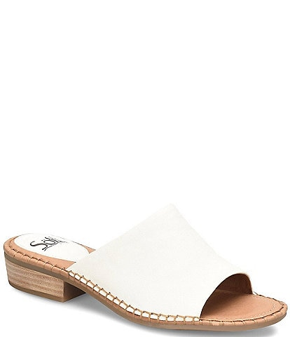 Sofft Nalanie Leather Stacked Heel Slides