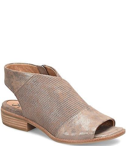 Sofft Natalia Perforated Metallic Suede Sandals