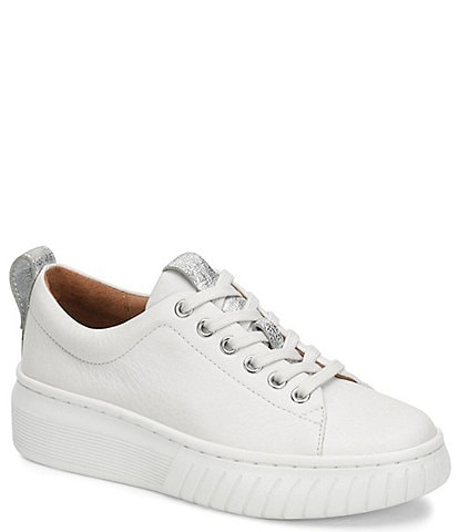 Sofft Pacey Leather Lace-Up Platform Sneakers