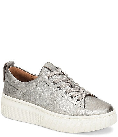 Sofft Pacey Metallic Leather Lace-Up Platform Sneakers