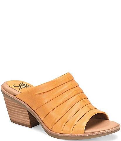 Sofft Pienza Pleated Leather Block Heel Sandals