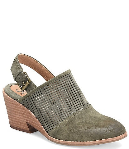 Sofft Sabie Suede Cut-Out Wedge Slingback Clogs