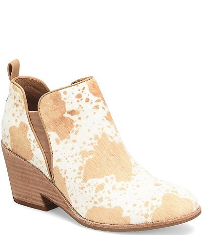 Sofft Sacora Cow Print Calf Hair Stack Cut-Out Wedge Booties