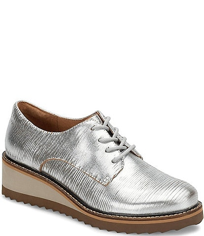Sofft Salerno Textured Leather Wedge Oxfords