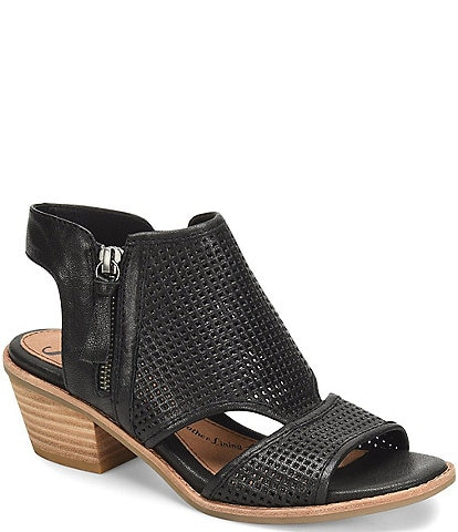 Sofft Sara Perforated Leather Stacked Heel Shooties