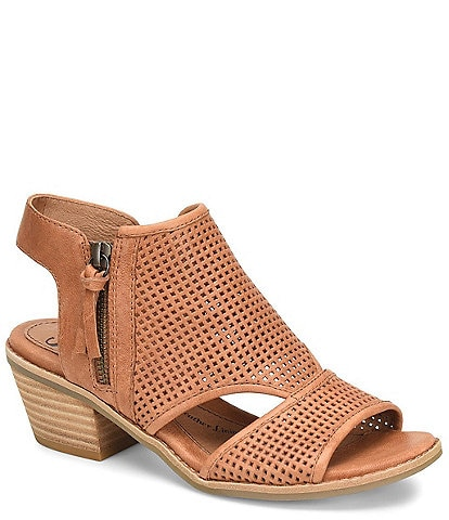 Sofft Sara Perforated Leather Stacked Heel Sandals