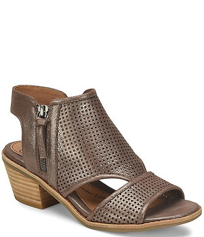 Sofft Sara Perforated Metallic Leather Stacked Heel Sandals