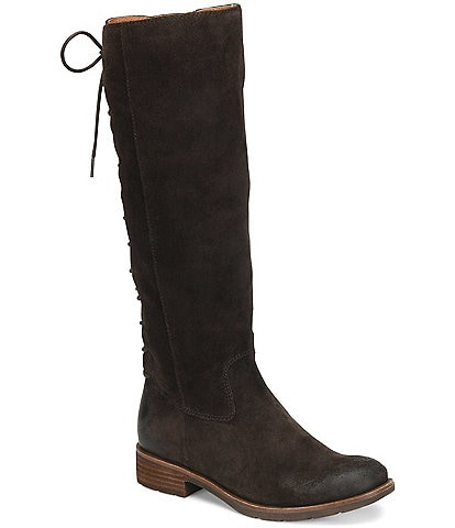 Sofft Sharnell II Waterproof Suede Lace Up Back Block Heel Tall Boots