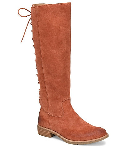 Sofft Sharnell II Waterproof Suede Lace-Up Back Block Heel Tall Boots