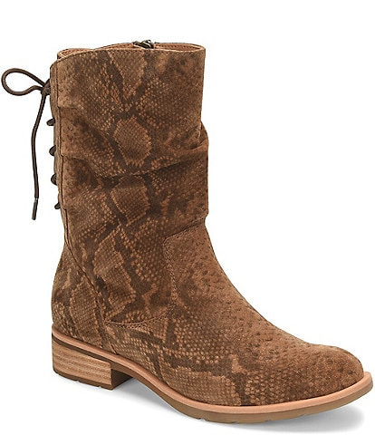Sofft Sharnell Low Waterproof Snake Print Suede Block Heel Boots
