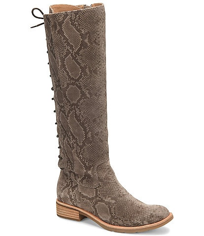 Sofft Sharnell Suede Snake Print Tall Waterproof Block Heel Boots