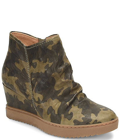 Sofft Siri Waterproof Suede Camouflage Wedge Boots