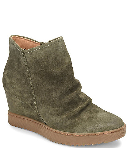 Sofft Siri Waterproof Suede Wedge Ankle Booties