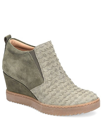 Sofft Snowden Suede Snake Print Wedge Sneakers