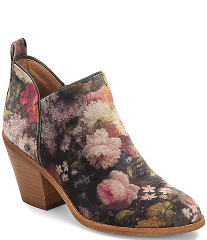 Sofft Tamela Floral Print Velvet Side Zipper Ankle Booties