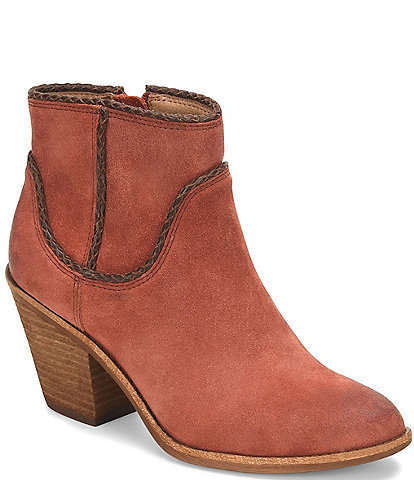 Sofft Taylie Waterproof Suede Leather Braided Western Booties