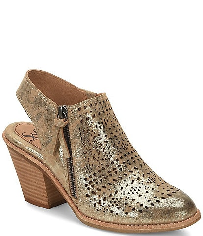 Sofft Tensley Perforated Metallic Suede Slingback Booties