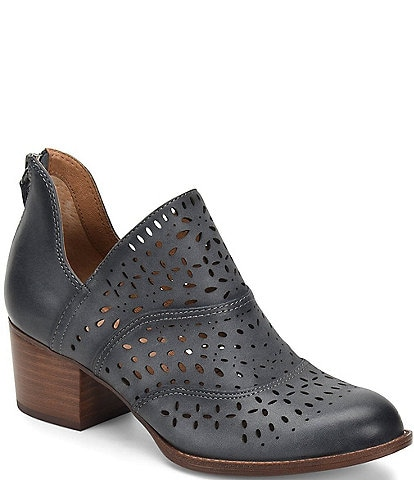 Sofft Wyoming Leather Laser-Cut Block Heel Booties