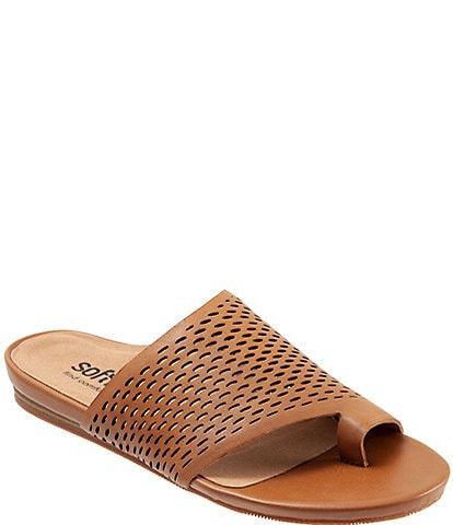 Softwalk Corsica II Perforated Leather Toe Ring Slide Sandals