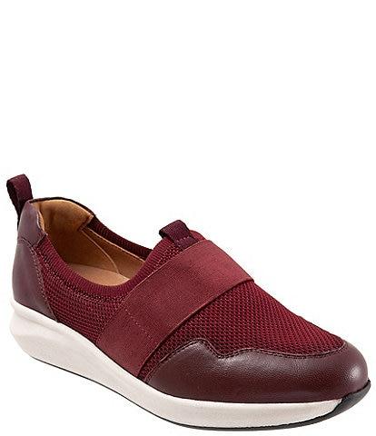 Softwalk Indigo Leather And Mesh Stretch Slip-Ons