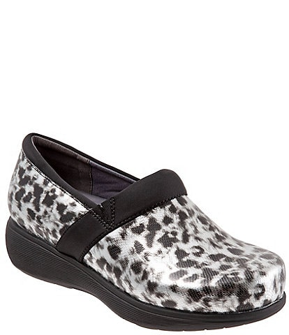 SoftWalk Meredith Sport Leopard Print Leather Slip-On Clogs