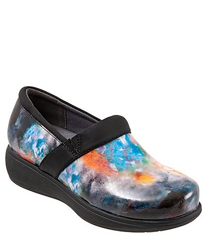 SoftWalk Meredith Sport Watercolor Print Leather Slip-On Clogs