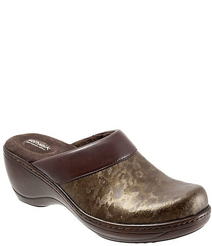 SoftWalk Murietta Leather Marble Print Clogs