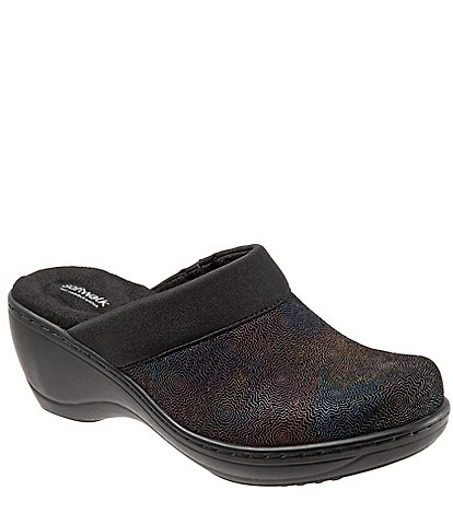 SoftWalk Murietta Leather & Suede Multicolor Printed Clogs