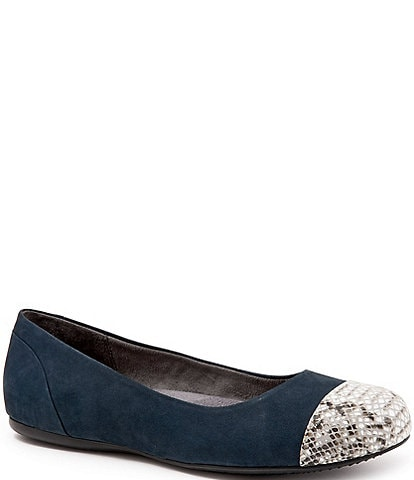 SoftWalk Sonoma Nubuck Cap Toe Ballet Flats
