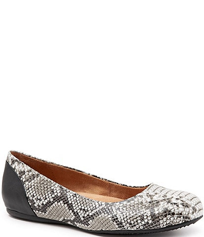 SoftWalk Sonoma Snake Print Leather Ballet Flats