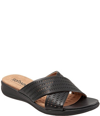 Softwalk Tillman II Perforated Leather X Band Wedge Slides