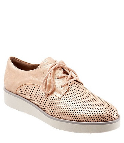 65da2c2f1f SoftWalk Willis Metallic Nubuck Perforated Platform Oxfords