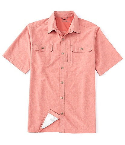 Solaris Big & Tall Short-Sleeve Capeback Heathered Button-Front Shirt