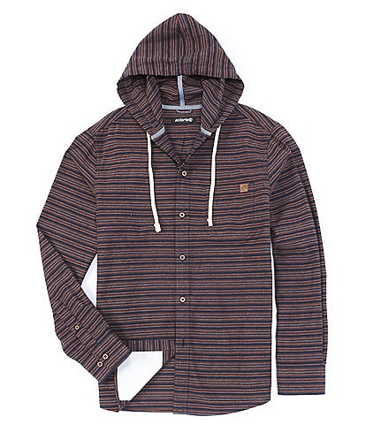 Solaris Outdoor Long Sleeve Horizontal Stripe Button-Front Hoodie