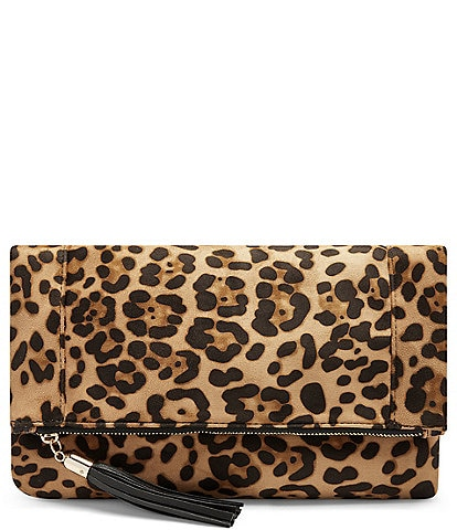 Sole Society Tasia Tasseled Leopard Foldover Clutch