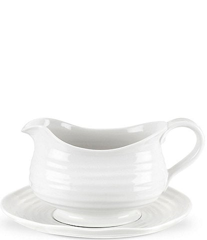 Sophie Conran for Portmeirion White Porcelain Gravy Boat with Stand