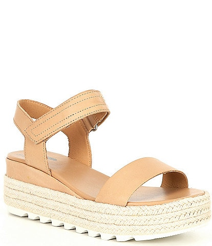 Sorel Cameron Leather Flatform Espadrille Sandals