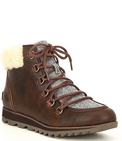 Sorel Harlow Lace Up Waterproof Leather Cozy Lug Sole Boots