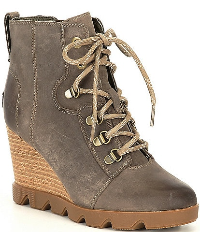 Sorel Joan Uptown Lace Waterproof Leather Wedge Lug Sole Booties