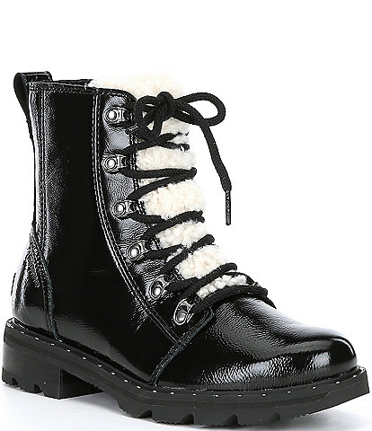 Sorel Lennox Lace Cozy Shearling Tongue Waterproof Patent Leather Lug Sole Combat Winter Booties